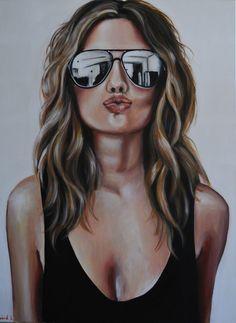 "Saatchi Online Artist: Maria Folger; Acrylic 2013 Painting ""kiss"""