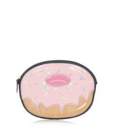 Pochette rose zippée en forme de beignet
