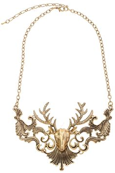 street fashion, head golden, deer necklac, style, accessori, golden necklac, deer heads, necklaces, jewelri