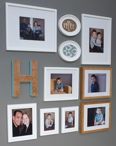 Oval frame with scrapbook paper. i like how the wooden initial is painted. Plus 31 other creative Gallery Wall Ideas To Transform Any Room