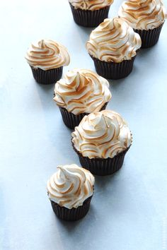 Banana Cupcakes with Bourbon Butterscotch Filling and Toasted Marshmallow Frosting from  @Bakers Royale | Naomi