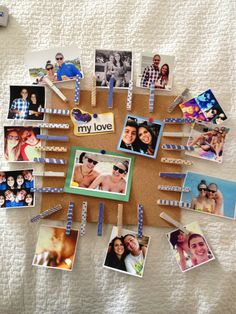 Photo clothespin cork board for him #gift #diy #board #him #boyfriend #photo #pictures #love