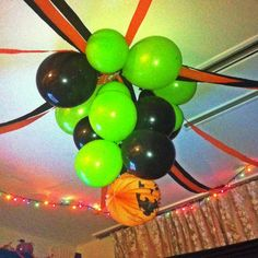 Halloween Balloon Chandelier!   Blow 8 balloons, tie to a string or ribbon, take paper latern and tie and extra long string and hang on the ceiling, tape extra balloons around chandelier, and Have Fun!!!
