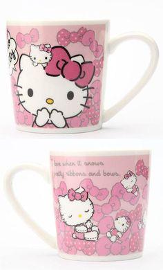 Pretty pink #HelloKitty ceramic mug.  Collectable Sanrio set available!!