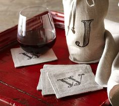 Textured Linen Drink Coaster Set