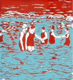 "Art Print  ""The Swimmers"" from linocut in red and turquoise"
