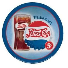 """12 """" Round Pepsi Cola Big Big Glass 5 Cents Aluminum Sign"""
