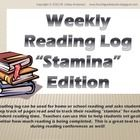 """This free sample reading log can be used for home or school reading and asks students to keep track of pages read and to track their reading """"stami..."""