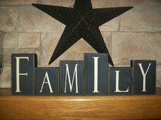 Primitive Family Wood Sign Blocks
