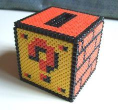 A fantastic Mario Perler bead piggy bank!