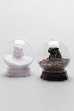 Snow Globe Bears Salt + Pepper Shaker Set