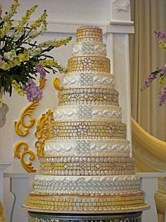 Gold & Silver Mosaic Wedding Cake