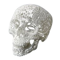 3D Printed Filigree Skull. Joshua Harker transforms the automatic scribbles and doodles of his subconscious into interesting, state-of-the-art sculptural objects. At the crossroads of high art and high technology, this skull sculpture is constructed using a powerful 3D printer. $65.00