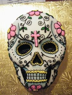 Skull cake #diadelosmuertos #dayofthedead candy skulls, los muerto, wedding cakes, de los, dia de, cake designs, art cakes, birthday ideas, birthday cakes