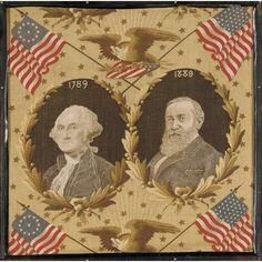 GEORGE WASHINGTON AND BENJAMIN HARRISON COMMEMORATIVE YARD GOODS, CIRCA 1889