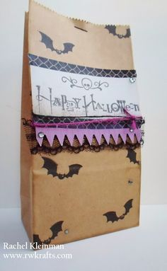 Darling Halloween treat bag made with the DCWV Spooky Time Stack!