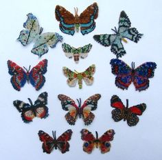 12 Multicoloured Lepidopteras Pattern by Katherina Kostinsky at Bead-Patterns.com