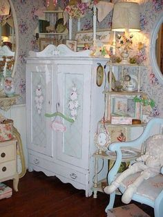 Vintage Cottage Painted Roses Armoire Chic Furniture Storage Cabinet Shabby Chic White