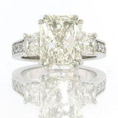 7.03ct Radiant Cut Diamond Engagement Anniversary Ring  Mark Broumand $80,695.00 #diamonds #jewelry #platinum #weddingrings