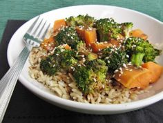 sesame soy broccoli and sweet potatoes on rice