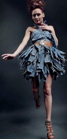 Shredded Fringe Sustainable Denim Dress