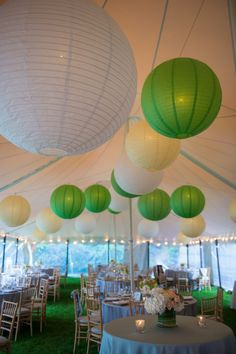 Tented Wedding with Hanging Lanterns -- So Cheerful!   See more of the wedding on SMP: http://www.StyleMePretty.com/2014/06/04/classic-new-england-beach-club-wedding/ Photography: CarlaTenEyck.com - Event Planning: NorthShoreWeddingsByAna.com