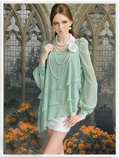 Morpheus Boutique  - Green Chiffon Layer Princess Long Sleeve Ruffle Shirt