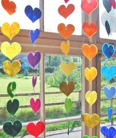 felt garlands in any simple shape would make cool window decorations and brighten up a teen area, or a children's area but it could be made by teens as a volunteer project