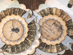Set of THREE Vintage InspiredBird Nest Bee Gift Tags Ornaments Victorian Paper Rosettes