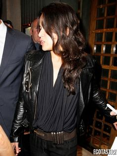 Michelle Rodriguez See through Top reveals her boobs outside Rose Night club