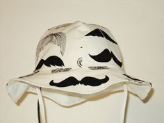 BABY Sun Hat Toddler Sun Hat Mustache Sun Hat by AuntBsBonnets