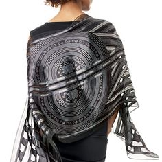 Art Deco Geometric Shawl - A stunning wool textile (1925–29) in the Museum's collection is attributed to multifaceted artist Sarah Lipska (Polish, 1882–1973). A wonderful example of Art Deco design, this embroidery for a dress is intricately worked using subtly light-reflective materials. Our dazzling shawl in a silk satin burnout technique is based on her original textile.