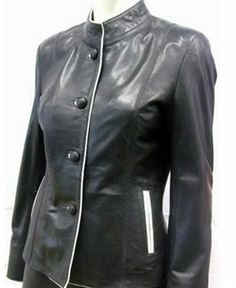 Womens leather jacket custom made style 1070NL image