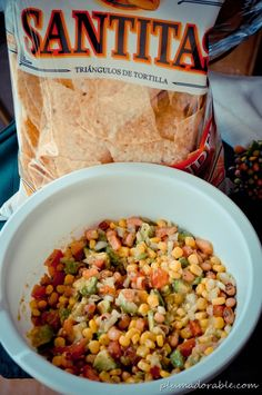 Cowboy Caviar  Here is a list of your ingredients:  1 can black eye peas (drained)  1 can shoe peg corn (drained)  2 avocados chopped  1 tomato chopped  2/3 C chopped onion  Dressing:  Garlic Salt (to taste)  pepper  1 tsp. cumin  1/4 C Red Wine Vinegar  1/4 C Olive Oil   Simply mix your veggies, mix your dressing and combine!!! YUMMY!!!
