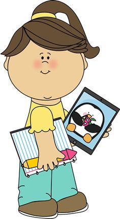 Girl with school supplies and a tablet from MyCuteGraphics cat clip, school supplies, clipart, clip art, graphics, cat imag