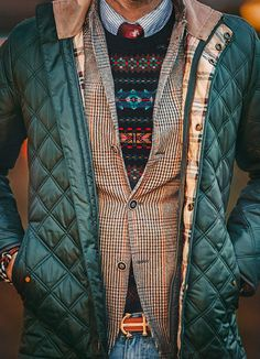 Fall layers and brooks brothers' quilted hunter green jacket. Yes please.