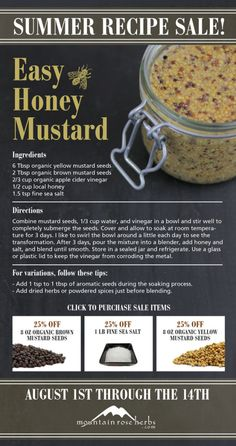 Summer Recipe Sale: 25% off Easy Honey Mustard