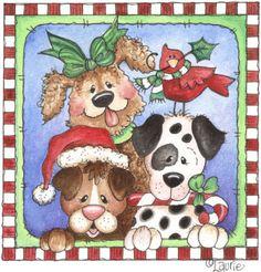 christmas cards, dogs, christma dog, lauri furnel, clipart