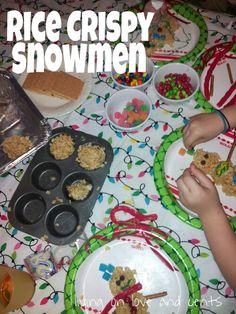 So much fun! How to make rice crispy snowmen!