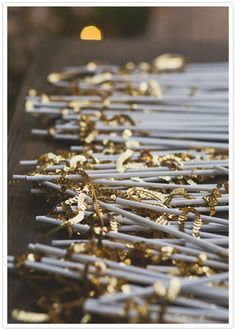 Gold sequin flags