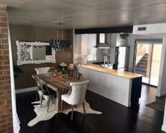Emmerson Dining Table + Capiz Chandelier from west elm | small kitchen
