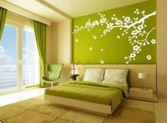 A green background wall bedroom