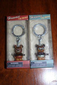 "NEW Disney Store Mickey & Minnie Tiki Vinylmation 1.5"" Keychain HAWAII EXCLUSIVE"