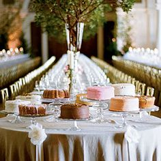 Uniquely Southern Wedding Cakes | Multiple Elegant Wedding Cakes | SouthernLiving.com buffet tables, big cakes, cake wedding, elegant cakes, southern weddings, cake stands, wedding cakes, small cakes, cake art