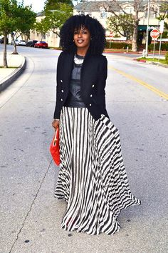 Love it!! Military Style Jacket. Leather T-shirt. Striped Maxi. - Style Pantry