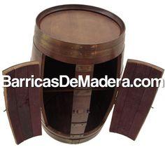 Barrica Armario Botellero realizado a partir de barricas de madera usadas de 225 litros. Reciclaje de barricas. Ya disponible en nuestra web www.BarricasDeMadera.com  Barrel cabinet.