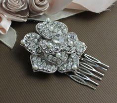Swarovski Crystal Bridal Hair comb by JamJewels1