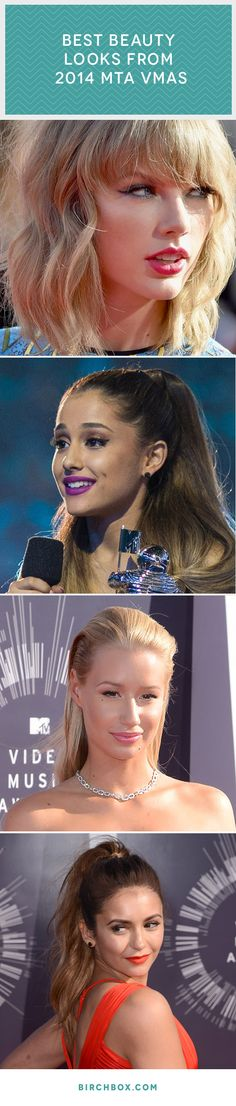 Bold lips, colorful cat eyes, and more eye-popping beauty trends from the 2014 MTV VMAs.