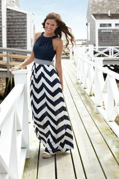how to wear a nautical maxi dress to a wedding | Nautical+Maxi+dress+chevron+dress+navy+and+white+picture.jpg