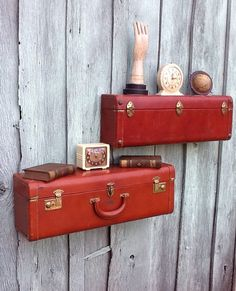 upcycled vintage suitcase wall shelves - Oupa's old suitccase turned into shelving in the mission room suitcas wall, idea, upcycl suitcas, upcycled shelves, old suitcases, wall shelves, trunks suitcases, vintage suitcases decor, upcycle shelves